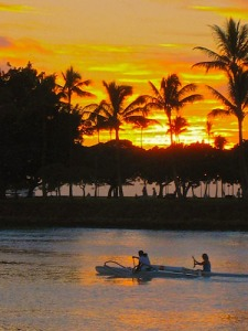 canoe-paddlers-at-sunset-a