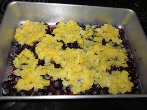 Lemon Pineapple Blueberry Dump Cake